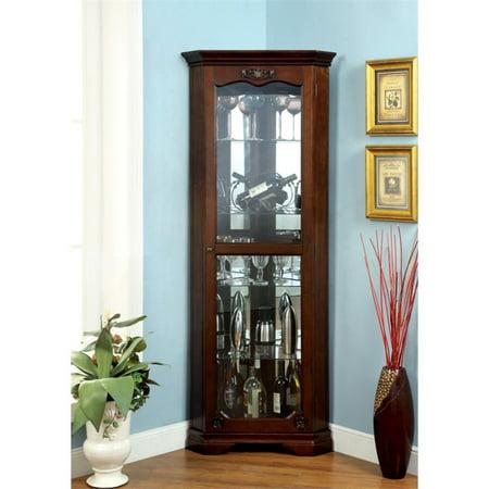 Furniture of America Lennie Traditional Corner Curio Cabinet in Walnut