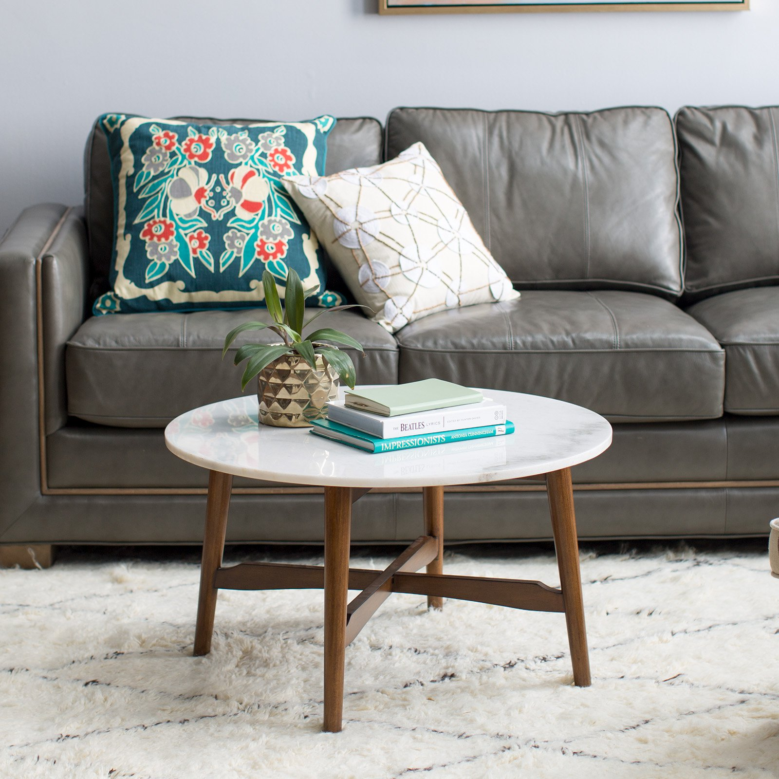 Belham Living James Round Mid Century Modern Marble Coffee Table