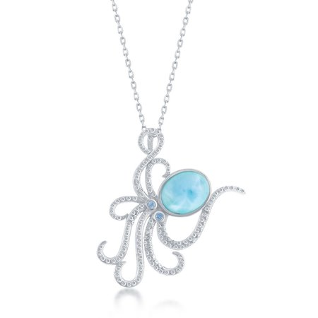 925 Sterling Silver Hawaii Natural Larimar Gemstone High Polished Nautical Octopus 18'' Pendant Necklace 925 Natural Moonstone Pendant