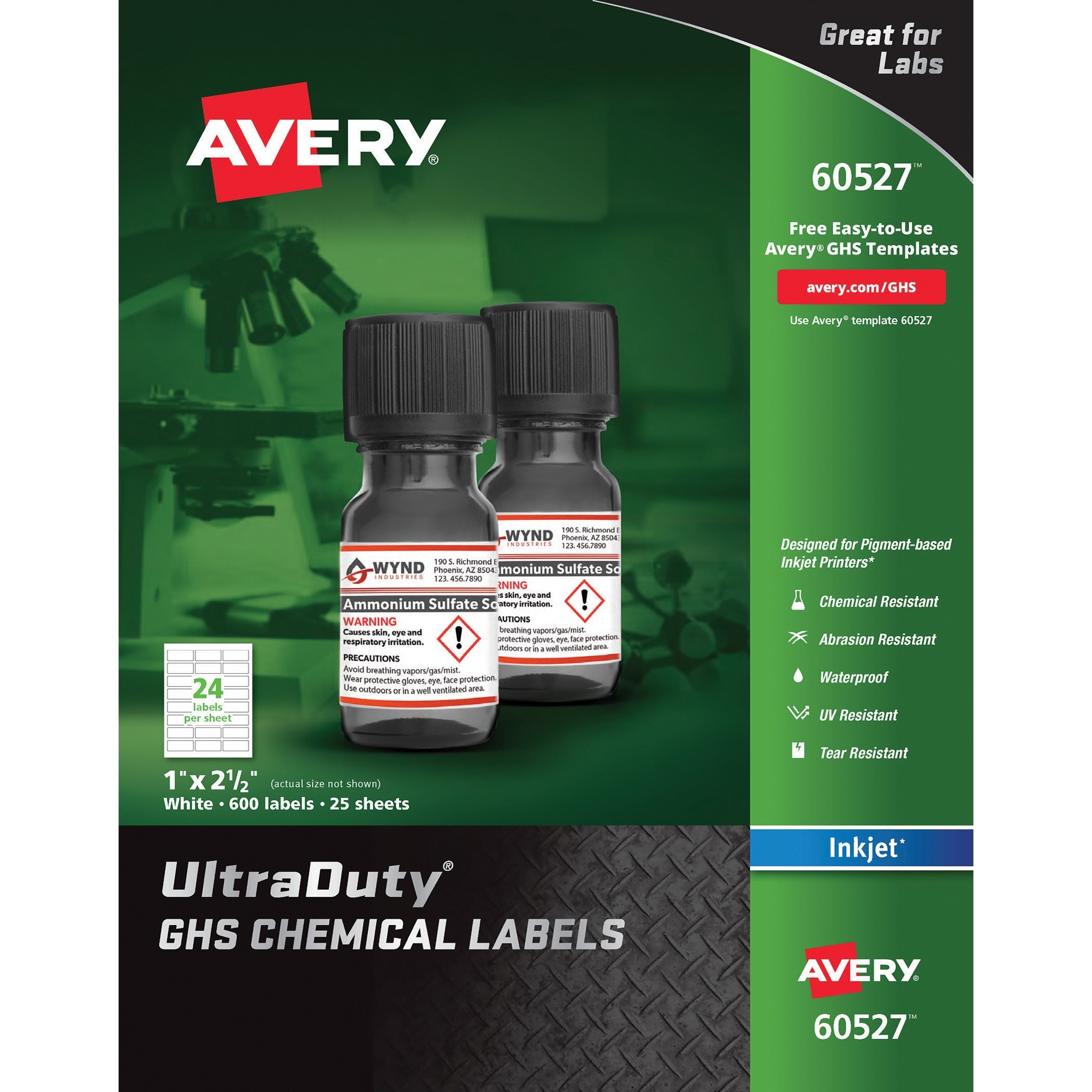 Avery®, AVE60527, UltraDuty GHS Chemical Labels, 600 / Box, White