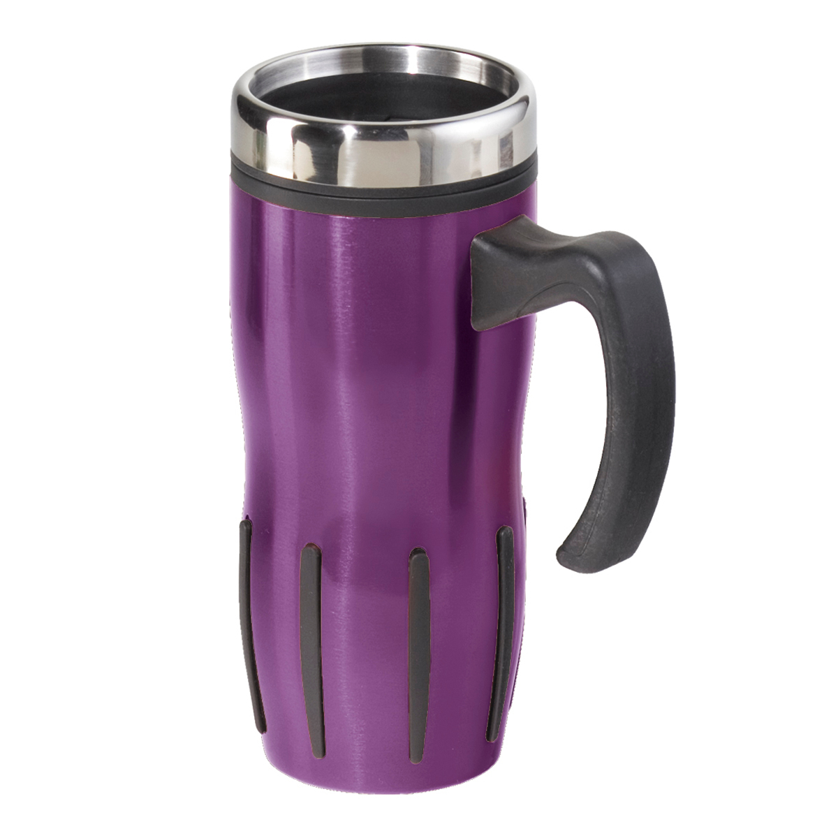 Oggi Lustre Purple Stainless Steel 16 Ounce Multi-Grip Mug