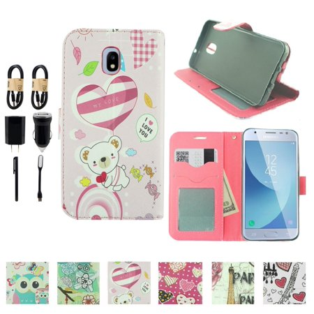 ~Value Pack~ For Samsung Galaxy J7 (2018)/ J7 Refine/ J7 Star/ J7V 2nd Gen. /J737 Fold Wallet Kickstand Phone Case bear love