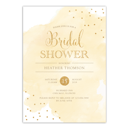 Personalized Wedding Bridal Shower Invitation - Watercolor Confetti - 5 x 7 Flat - Wedding Shower Invites