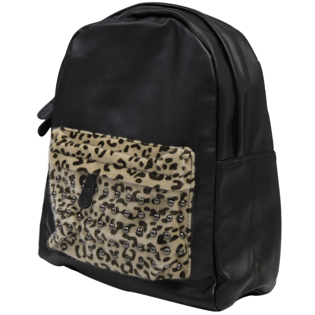 Men Zip Fly Panel Design Leopard Prints Backpack Black