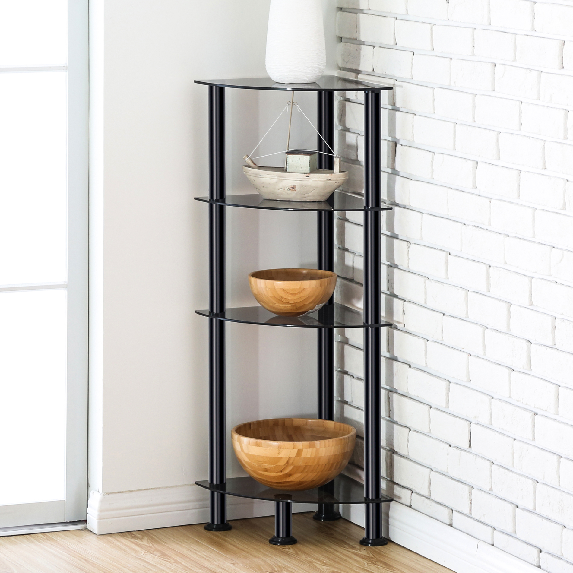 FITUEYES 4-Tier Corner Shelf Bookcase Black Tempered Glass Display Rack GS404701GB