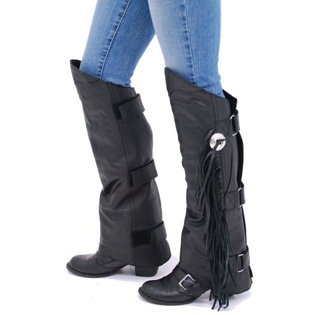 Fringed Leather Half Chaps #A199CR (Womens Half Chap)