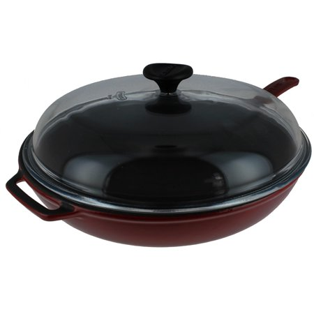Chasseur 11-inch Red French Enameled Cast Iron Fry pan with Glass