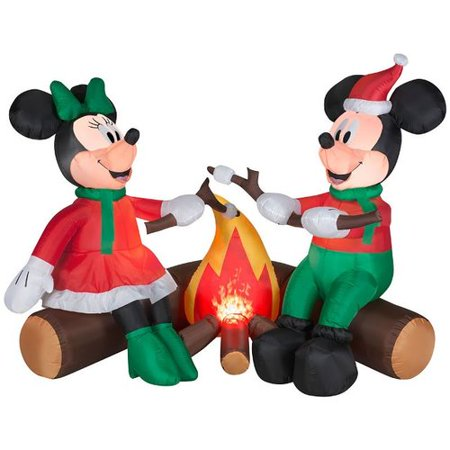 Gemmy Industries Projection Airblown Fire and Ice Mickey and Minnie Roasting Marshmallows Scene Large Disney Inflatable