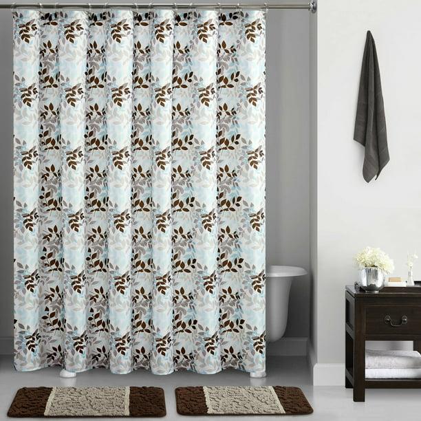 Mainstays Brown Botanical Vines Printed 15 Piece Shower Curtain Bath Set Walmart Com Walmart Com