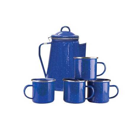 Stansport Enamel 8 Cup Coffee Pot With Percolator And 4 12
