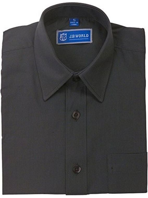 JB World Boys Dark Gray Short Sleeve Button Front Uniform Dress Shirt