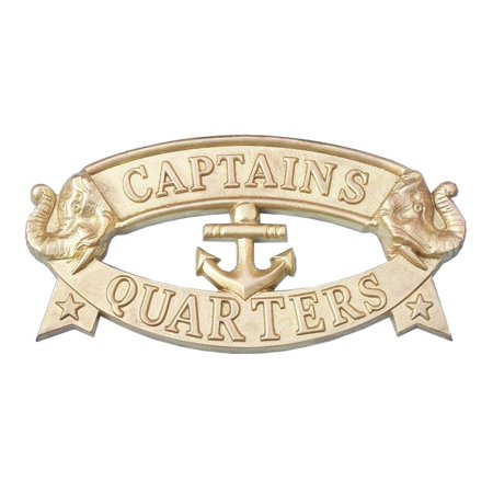 Solid Brass Captain's Quarters Sign - Nautical Decoration - Beach Bedroom - Beach Theme Decorations For Home