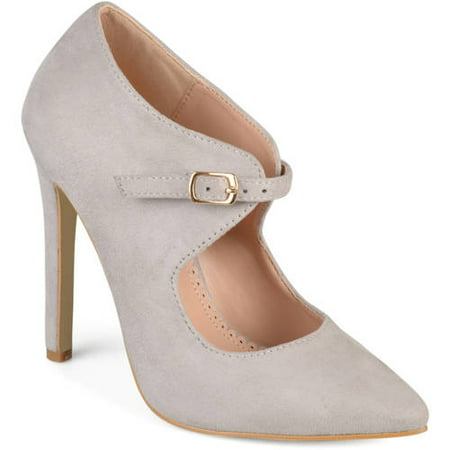 Women's Faux Suede Pointed Toe Cut-out Heels (Pointed Toe Chain High Heel)