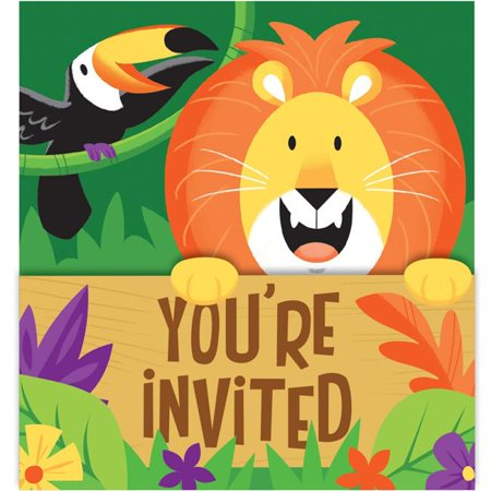 Creative Converting 340139 Jungle Safari Invitations, 8 Count - Safari Themed Invitations
