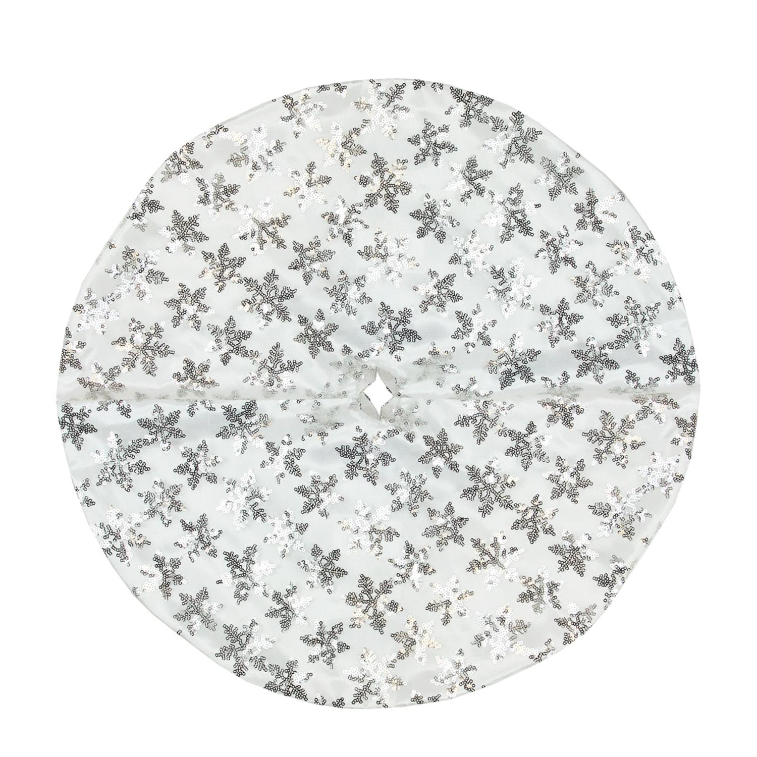 "20"" Decorative White and Silver Sequin Snowflake Pattern Mini Christmas Tree Skirt"