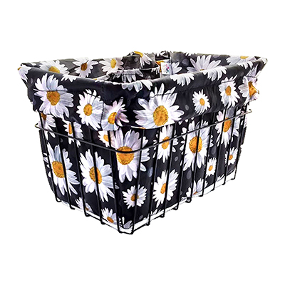 Cruiser Candy Reversible Bike Basket Liner, Fits All Standard Wire and Wicker Baskets (14x9x9in), Love Daisy