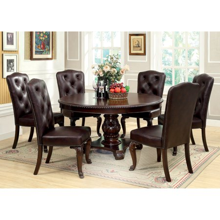 Furniture Of America Berkshire 7 Piece Round Dining Set With Faux Leather Chairs Brown