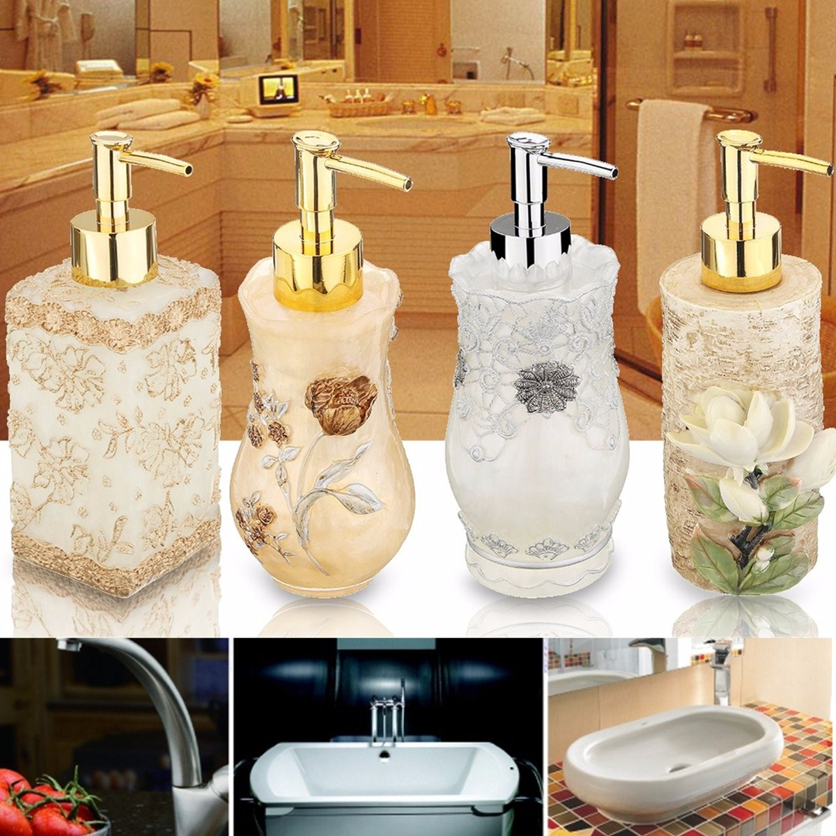 300ML Resin Pumps Bathroom Sink Soap Dispenser Lotion Liquid Shampoo Gel Container Sculptured For Aromatherapy, Home & Kitchen