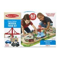 Deals on Melissa & Doug Classic Railway Wooden Train Set 82pcs