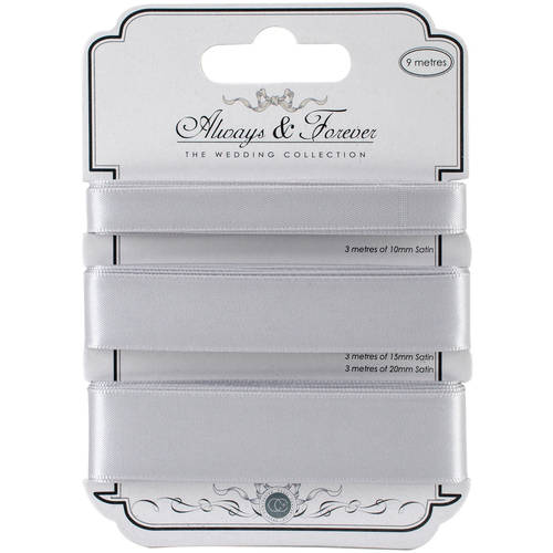 Craft Consortium Always and Forever Satin Ribbon, 3m, 3pk
