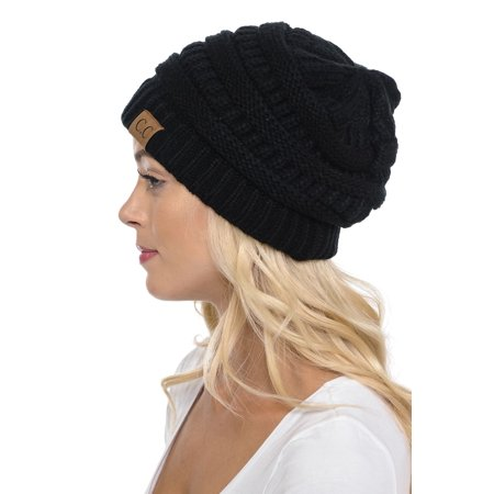 C.C Hat-20A Slouchy Thick Warm Cap Hat Skully Color Cable Knit Beanie Black (20s Womens Hats)