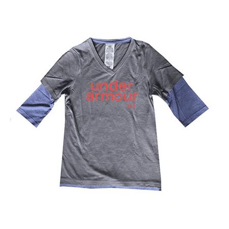 0cb559d7 Under Armour Youth Girls UA 3/4 Sleeve V-Neck T-Shirt MEDIUM Heather Gray