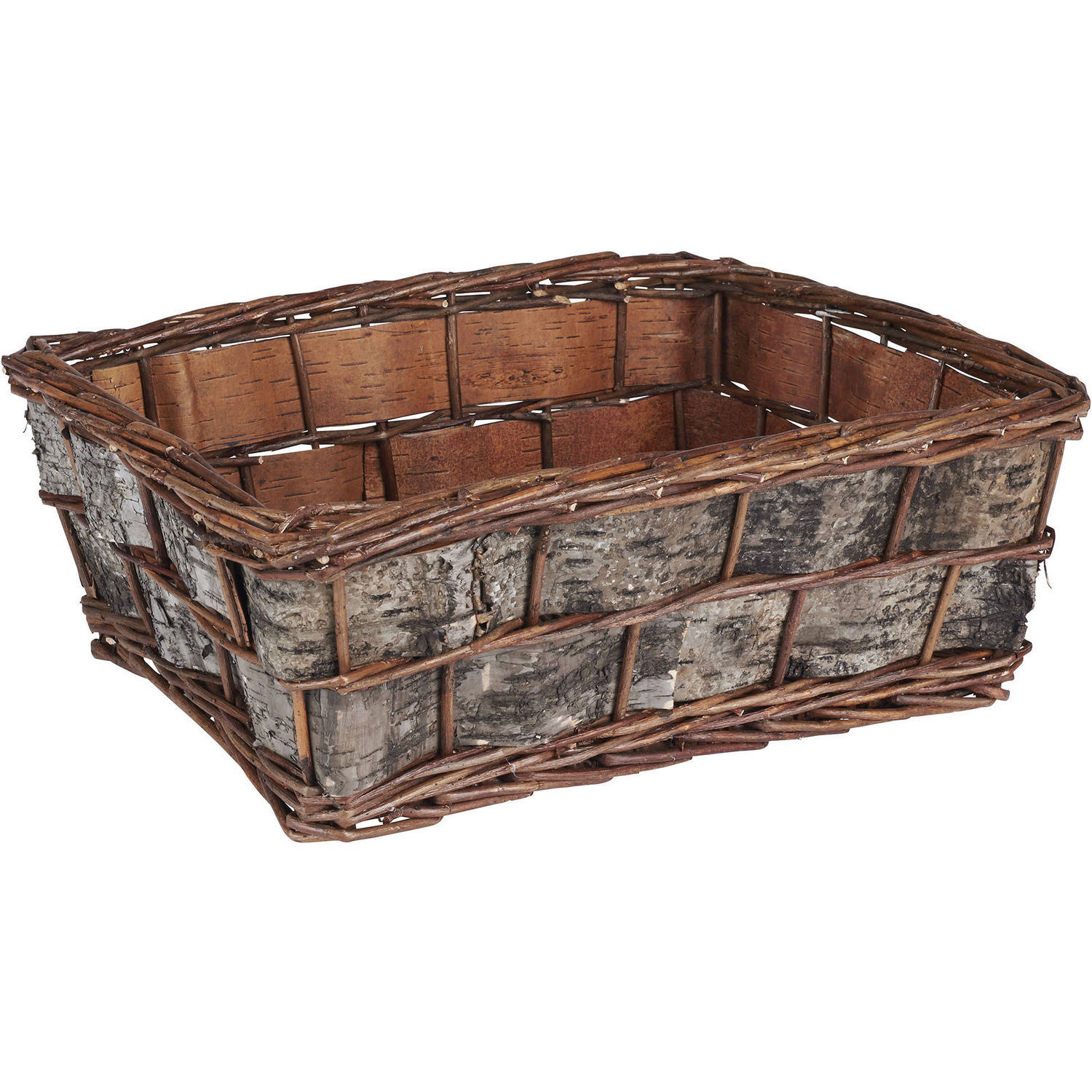 Household Essentials Birch Bark Decorative Wicker Basket