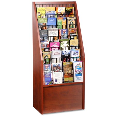 Literature Rack - Floor Literature Rack with Adjustable Pockets for 4x9 Brochures and 8.5x11 Magazines - Red Mahogany with Black Wire (BDI1224RM)