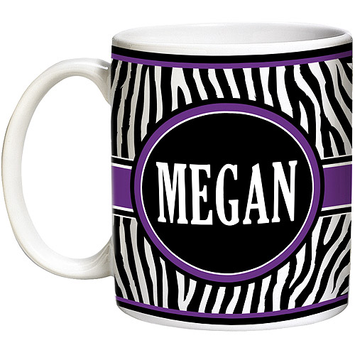 Personalized Zebra Coffee Mug, 15 oz - Purple