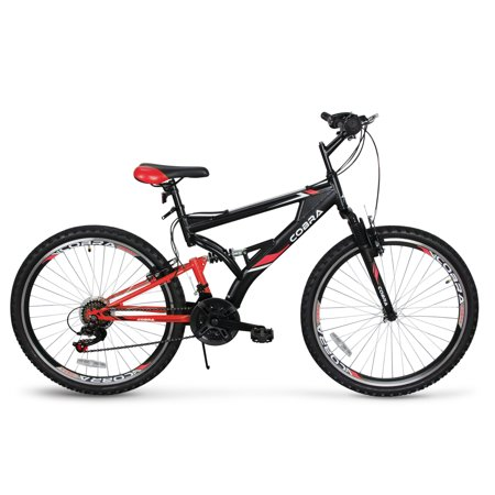 AKONZA Cobra 26-Inch Full Front Rear Suspension Exercise 21-Speed Cycling Outdoor Mountain Bicycle, (Red Suspension)