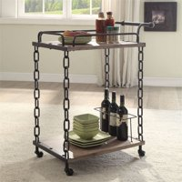 Bowery Hill Serving Cart in Rustic Oak and Antique Black