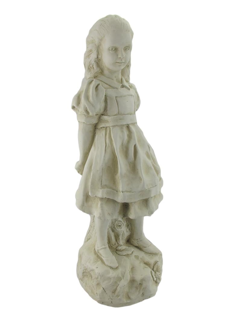 19 Inch Alice in Wonderland Museum White Garden Statue by Garden Statues