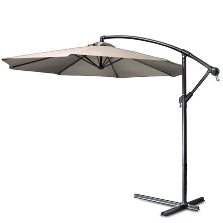 10 ft Patio Umbrella Offset Hanging Folding Sun Shade Cantilever w/ Cross Base Crank & Canopy Cover for Deck Pool Beach Outdoor Outside Table Market Garden Backyard & Furniture (Beige) ()