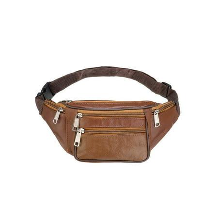 c9af616fd8d3 Waterproof 6 Pockets Genuine Leather Unisex Fanny Pack Waist Bag Hip Pouch  Clip Belt Bum Bag