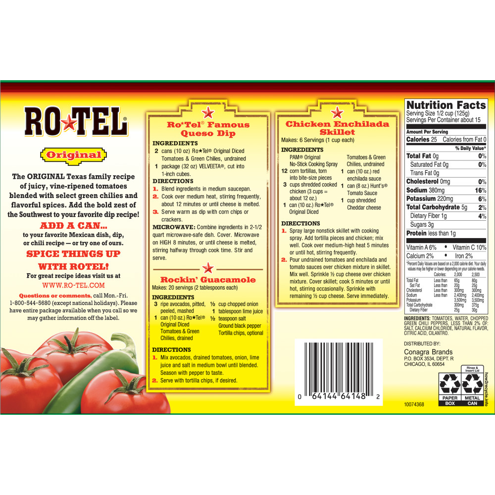 12 Cans) RO*TEL Original Diced Tomatoes