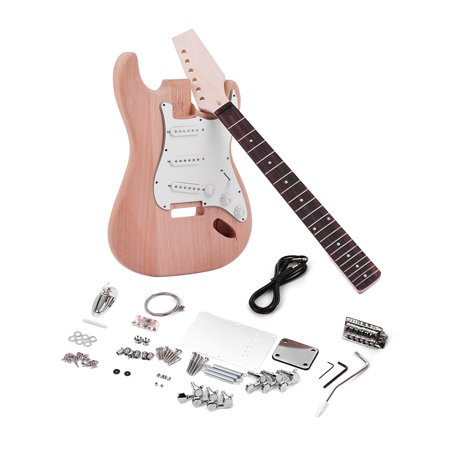 Muslady ST Style Unfinished DIY Electric Guitar Kit Mahogany Body Maple Guitar Neck Rosewood (Maple Body Kit)
