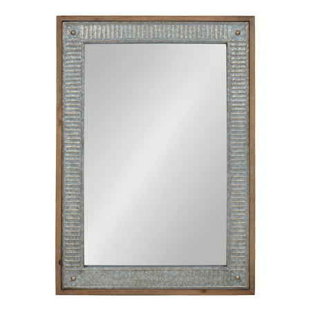 Kate and Laurel Deely Farmhouse Wood and Metal Wall Mirror, Rustic Brown](Deely Boppers)