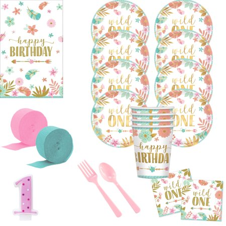 Boho 1st Birthday Girl Deluxe Tableware Kit (Serves 8)](Boho Birthday Party)