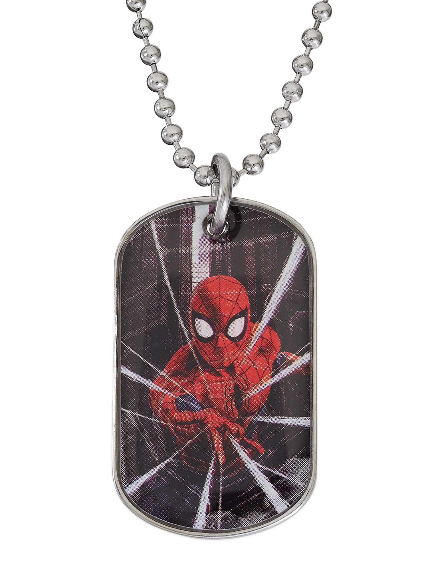 Spider-Man Boys Stainless Steel Dog Tag Pendant, 20