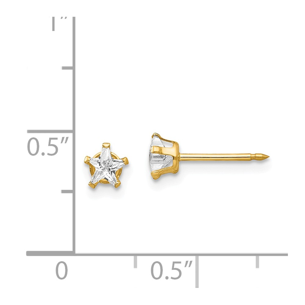 14K Yellow Gold Childrens Inverness 4 MM Star CZ Post Stud Earrings