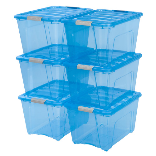 IRIS 54 Qt. Stack and Pull Plastic Storage Box, Trans Blue Set of 6