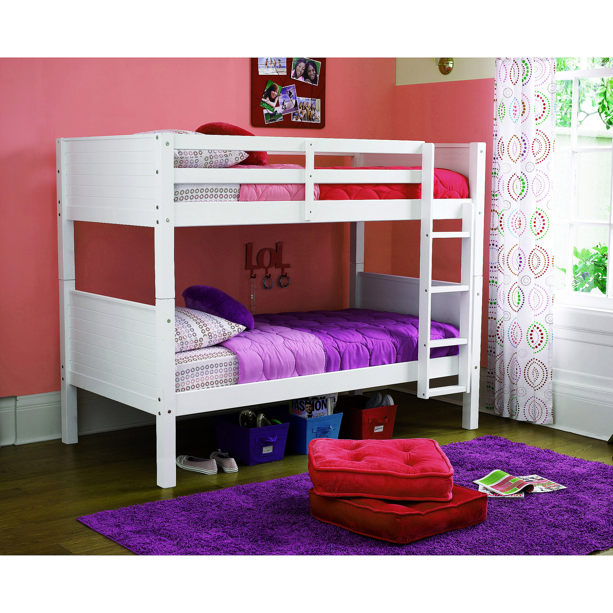 Dorel Home your zone zzz place to be twin over twin bunk bed, Multiple Finishes