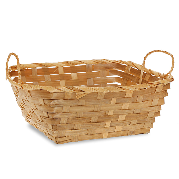 Square Bamboo Utility Basket with Ear Handles 9in