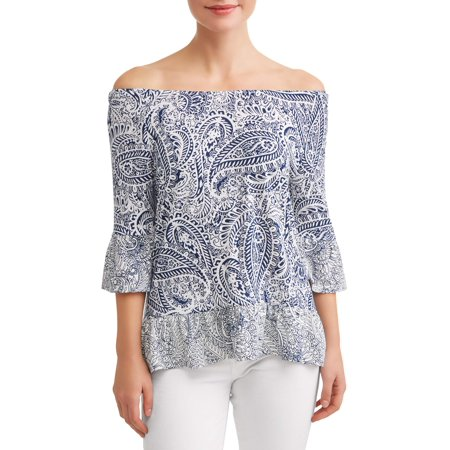 Women's Mixed Print Bell Sleeve Top Day Trip Mixed Print Top