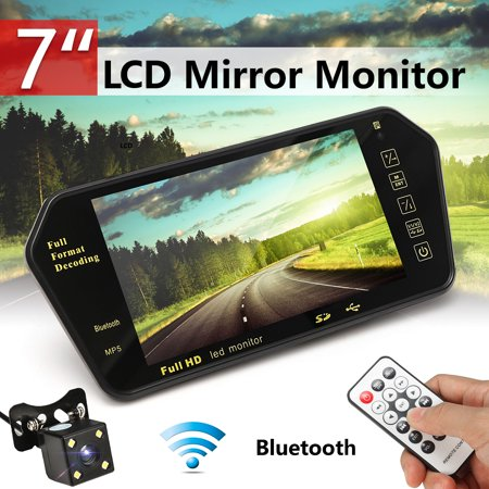 7 inch TFT LCD color monitor Wired Car bluetooth Reverse Rear View Backup Camera Night Vision + Remote control