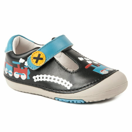 - Momo Baby Boys T-Strap Leather Shoes - Train Black (First Walker & Toddler)