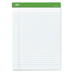 "Office Depot® Brand 100% Recycled Perforated Writing Pads, 8 1/2"" x 11 3/4"", 50 Sheets White, Pack Of 6 Pads"
