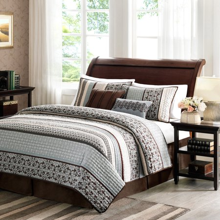 5pc Full/Queen Cambridge Quilted Coverlet Set Blue