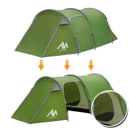 Family Tunnel Tent for Camping,iClover 3 Person 2 Room Ultralight Backpacking Tent with Front Vestibule, Waterproof Double Layer Classic 4 Season Tents, Easy Setup for Outdoor Sports