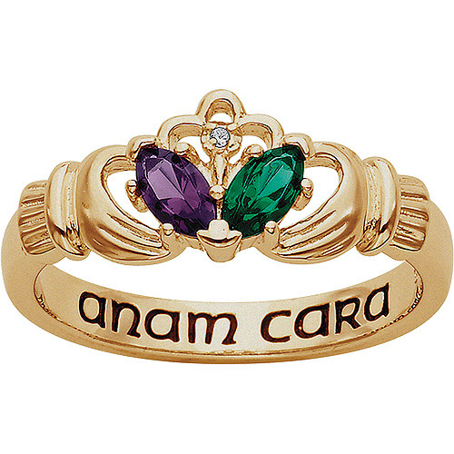 Personalized Couples Marquise Birthstone and Diamond Accent Claddagh Ring in 18kt Gold over Sterling Silver